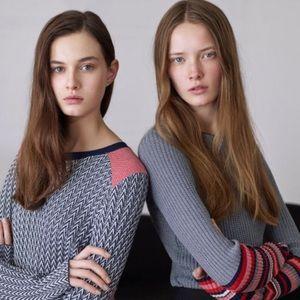 ASO Alexa Chung Zara Ribbed Knit Striped Sweater
